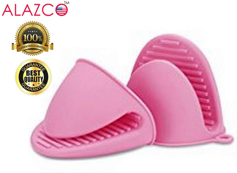 ALAZCO Pink Mini Oven Mitts 1 Pair (2pcs), Heat Resistant Pinch Mitt Gloves Potholder for kitchen Cooking & Baking - Food-Grade Silicone