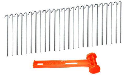 25pc ALAZCO Galvanized Steel Tent Stakes and 1 Heavy Duty Plastic Mallet with Puller Hook