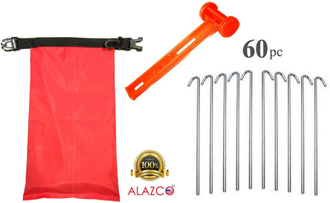 ALAZCO Galvanized Steel Tent Pegs - Garden Stakes -Heavy Duty - Rust Free (60pc Stakes, 1 Mallet & Storage Bag) Great for Camping, Securing Holiday Decorations and Cords On Lawn and Soil
