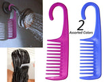 2 Wide Tooth De-tangling /Conditioning Shower Comb w/Hook for hanging - Assorted Colors