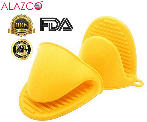 ALAZCO Yellow Mini Oven Mitts 1 Pair (2pcs), Heat Resistant Pinch Mitt Gloves Potholder for kitchen Cooking & Baking - Food-Grade Silicone
