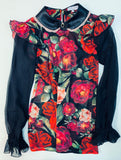 Flower print Silk ruffled Blouse