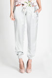 Light gray satin pants