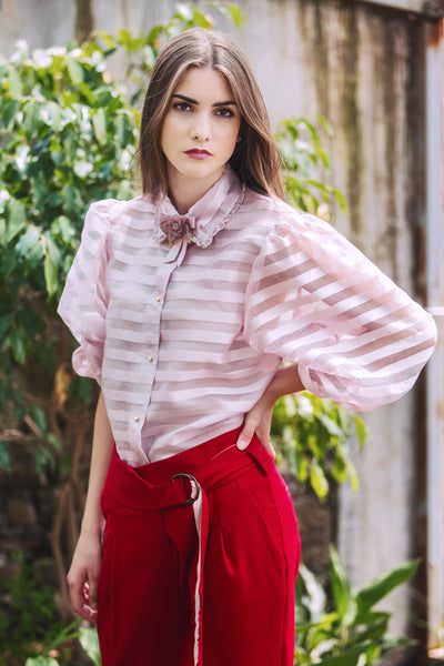 Light pink striped organza Blouse