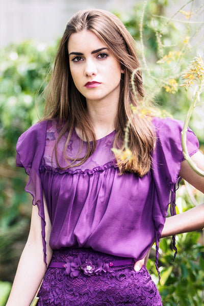 Violet silk Blouse