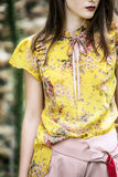 Yellow flower silk Blouse