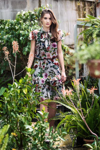 Flower print silk dress