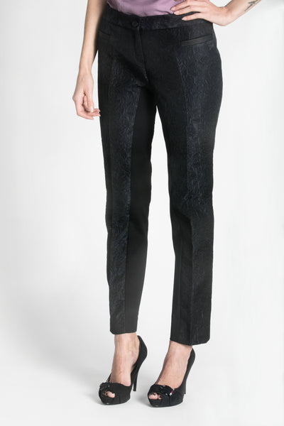 Dark blue jacquard trousers