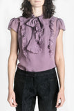 Violet silk bow blouse
