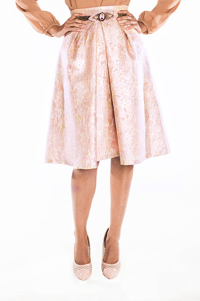 Metallic jacquard midi skirt