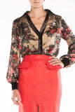 Blouse brown-flowers