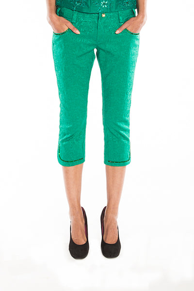 Green Floral jacquard trousers