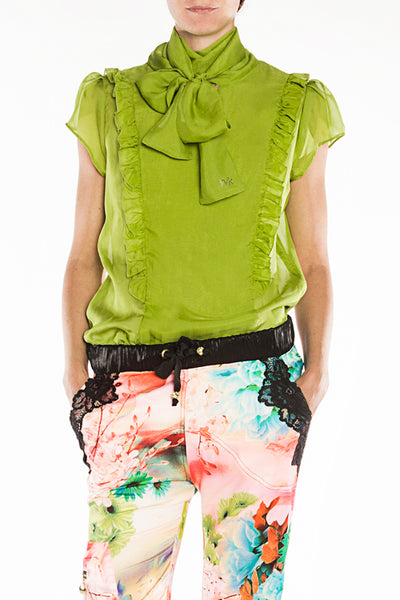 Silk lime green blouse