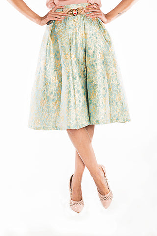 Metallic jacquard midi skirt blue