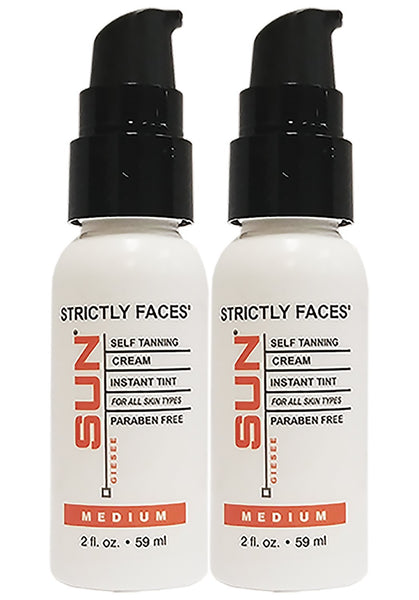 Sun Laboratories Strictly Faces, Medium, 2 Fl oz, 2 Pack Self Tanning Lotion for Face