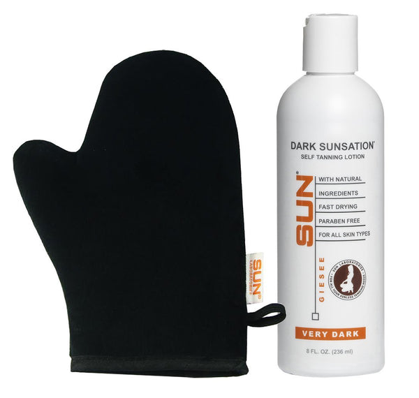 Sunless Tanning Lotion Very Dark with Tanning Mitt for Self Tanner Application