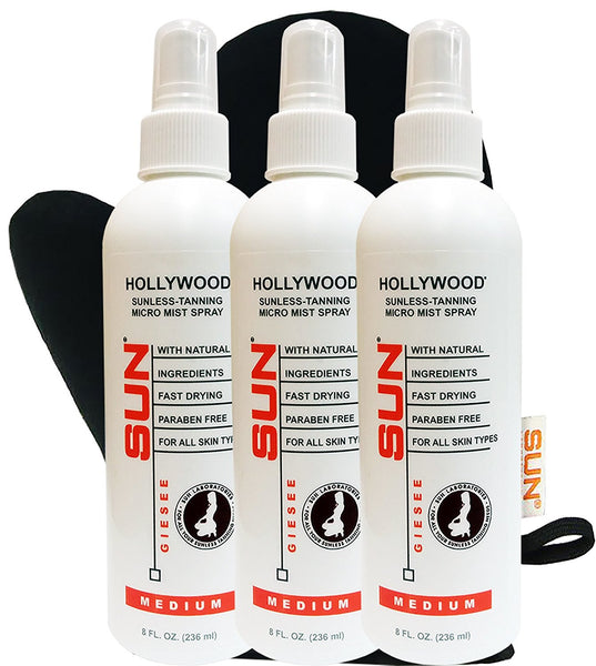 Spray Tan Hollywood Medium 8oz Micro-Mist Self Tanner 3- Pack +Tanning Mitt