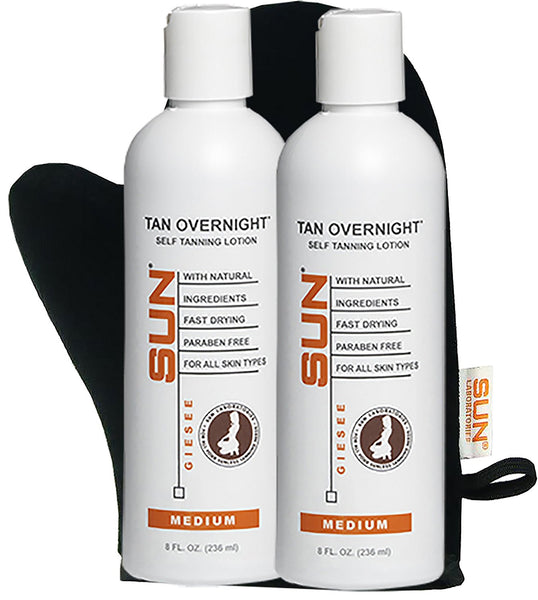 Sunless Tanning Lotion Tan Overnight - Medium Self Tanner for Fair Skin (8 oz) - 2 Pack Flawless