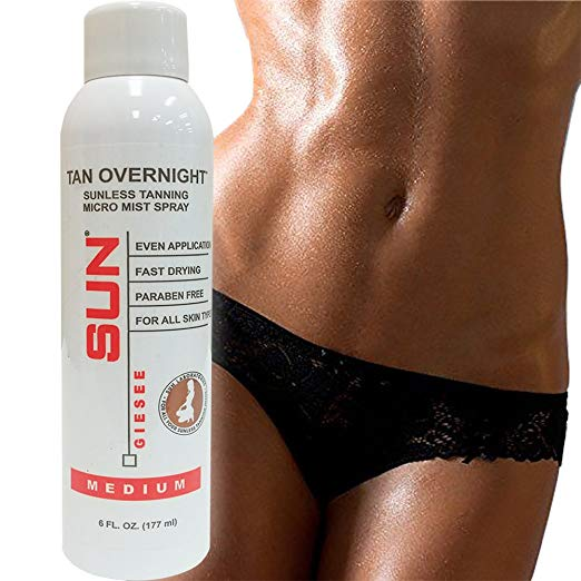 Sun Labs Self-Tanning Spray Can, 6 oz, Tan Overnight Natural Sunless Airbrush, Body and Face for Bronzing and Golden Tan - Medium Sunless Bronzer Flawless Fake Tanning Airbrush | Sunless Tan Spray