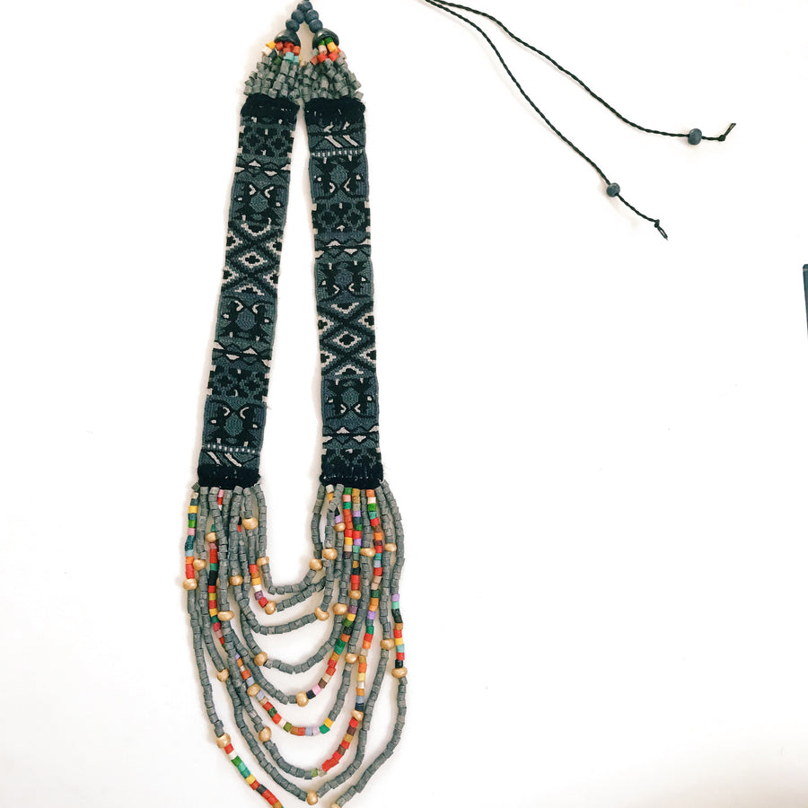 Huipil Necklace Charcoal