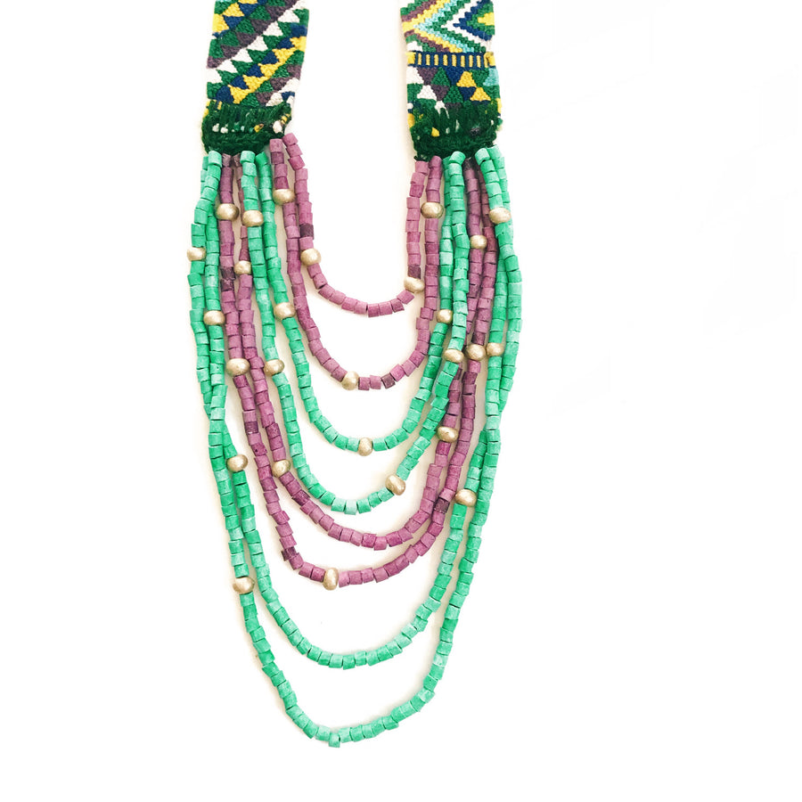 Huipil Necklace Turquoise + Purple