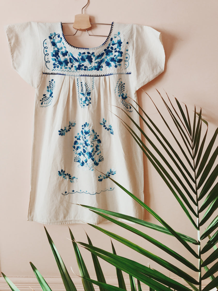 La Flor Dress Blue / Natural