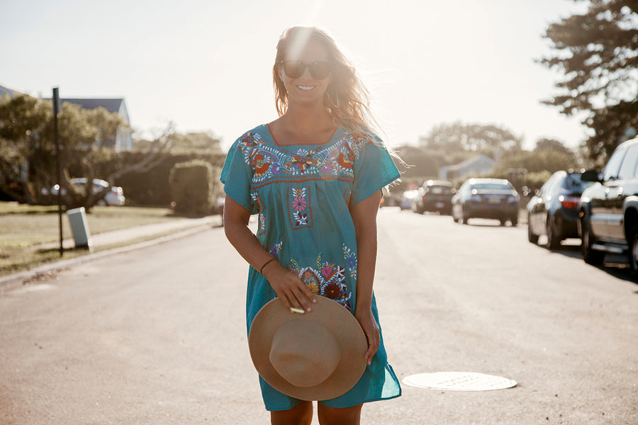 La Flor Dress Turquoise