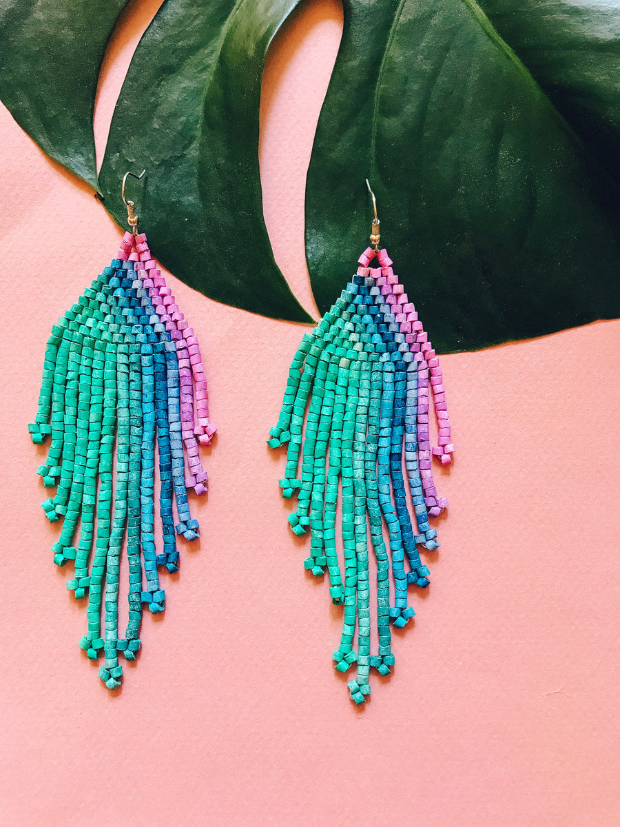 Beaded Earrings ~ Turquoise Ombre