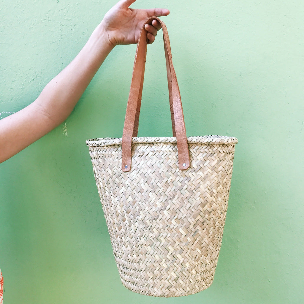 Palm Bag with Leather Handles