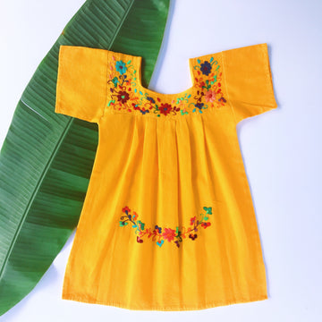 Niña Flor Dress Mustard Yellow