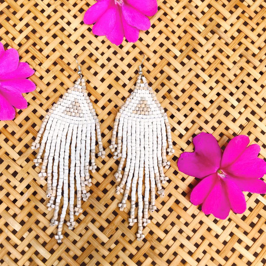 Beaded Earrings ~ Pearl