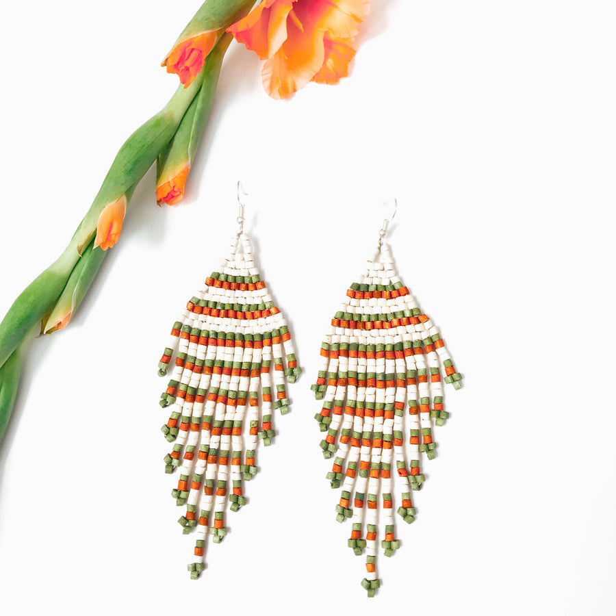 Beaded Earrings ~ Tierra Stripe