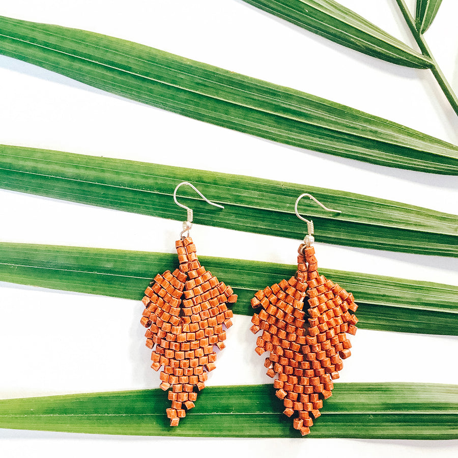 Beaded Earrings ~ Rust