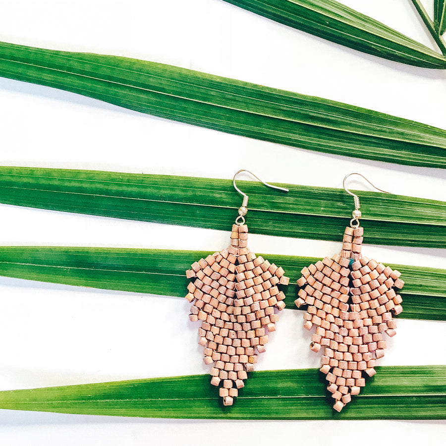 Beaded Earrings ~ Taupe