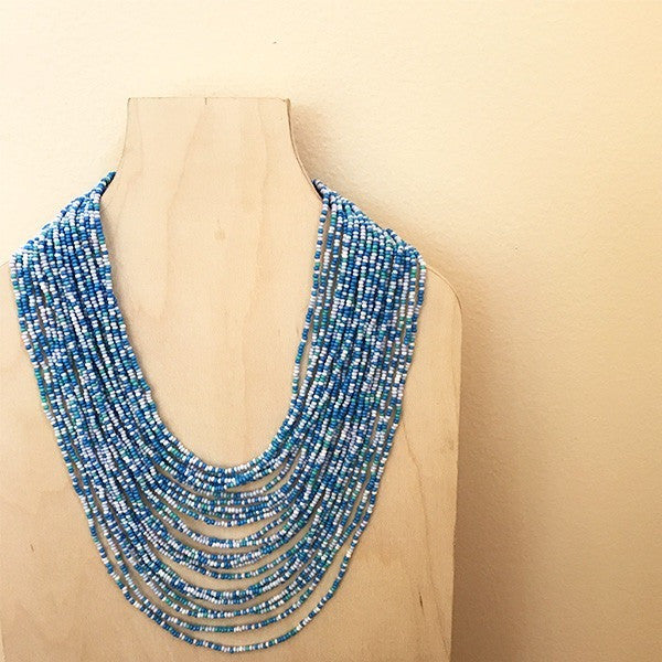 Isla Blue Glass Beaded Necklace