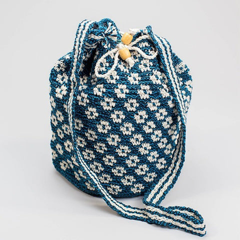 Bahia Bucket Bag Blue / White Pattern