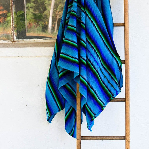 Sunzal Serape Blanket Blue Green