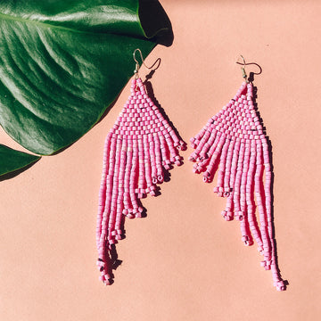Beaded Earrings ~ Summer Pink