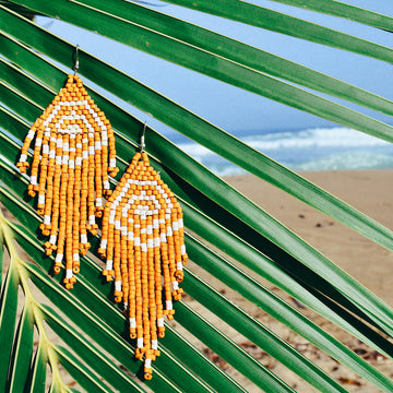 Beaded Earrings ~ Mustard Spiral