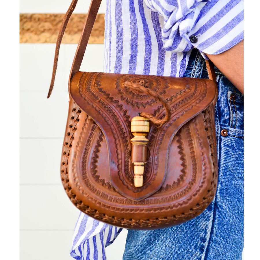 Embossed Leather Toggle Bag