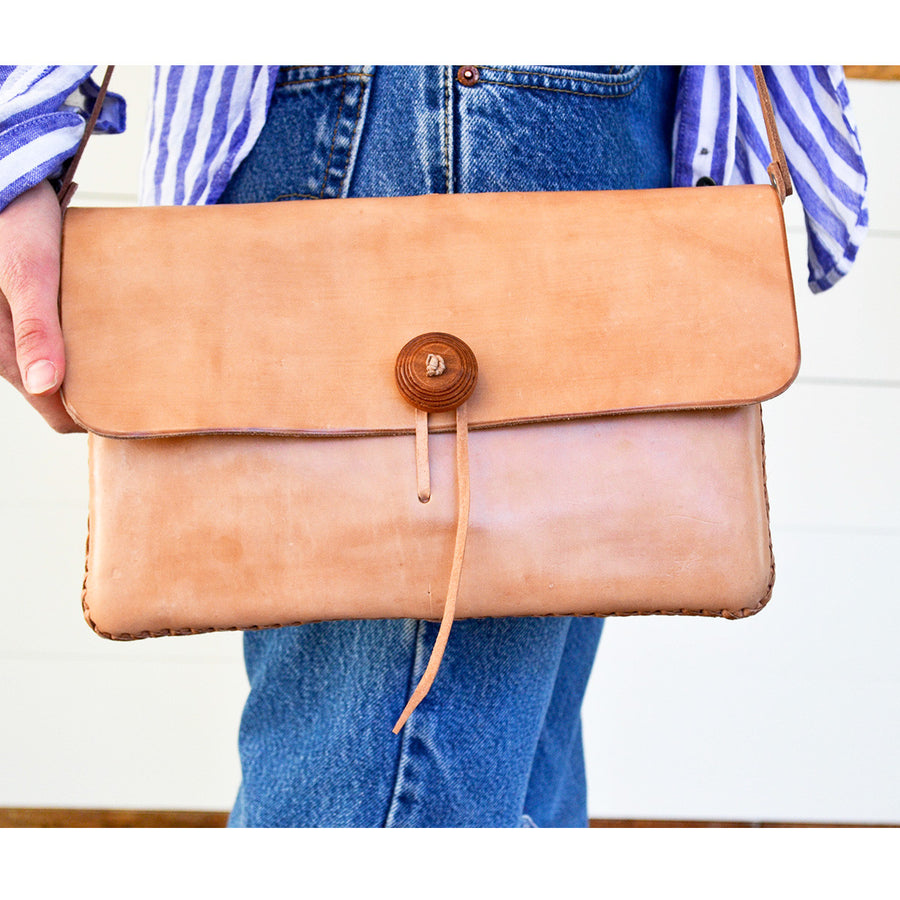 Leather Tie Envelope Bag
