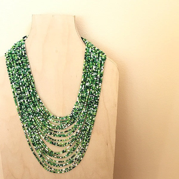 Isla Green Glass Beaded Necklace