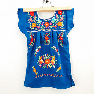Kids La Flor Dress ~ Blue Size 2