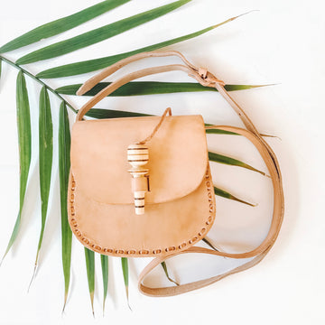 Natural Leather Toggle Crossbody