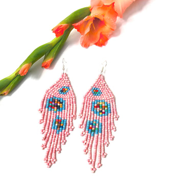 Beaded Earrings ~ Cotton Candy