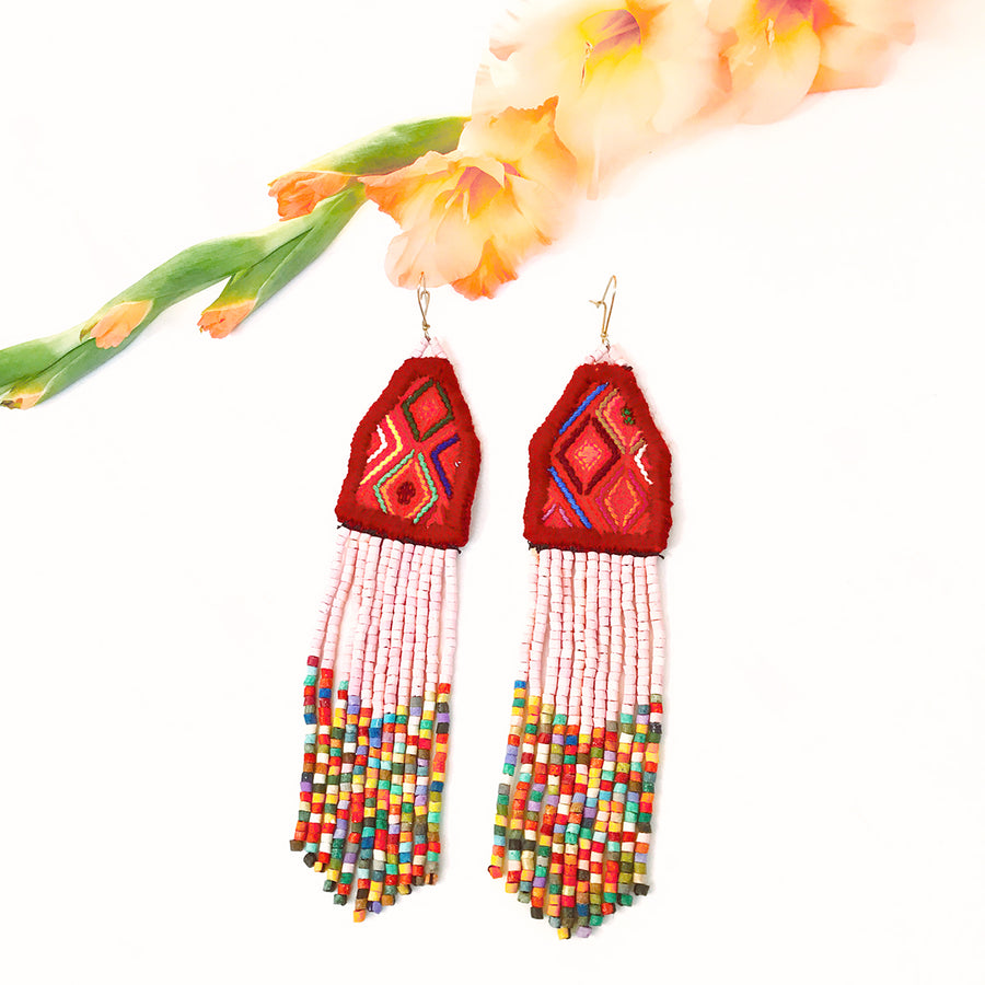 Textile Beaded Earrings ~ Isabel