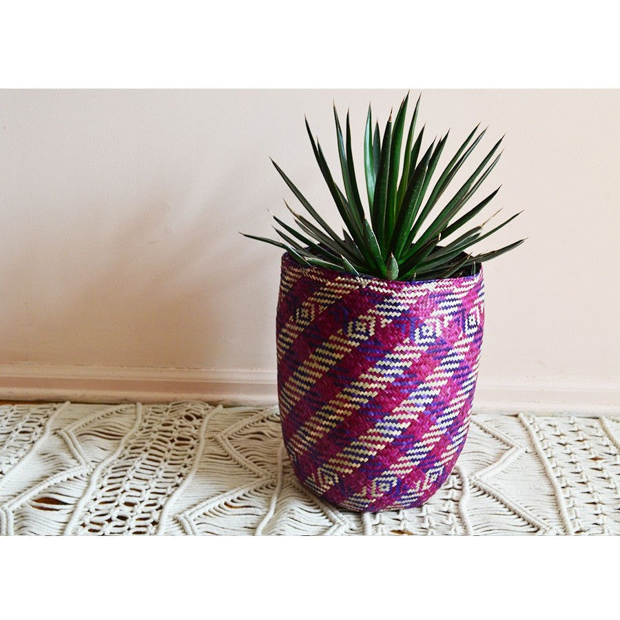 Oaxaca Casa Basket - Purple Magenta Stripe