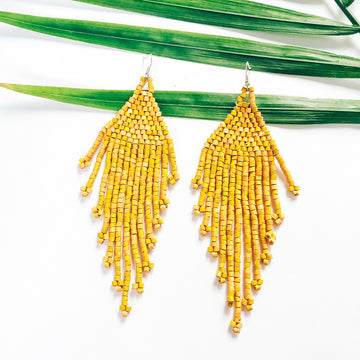 Beaded Earrings ~ Mustard