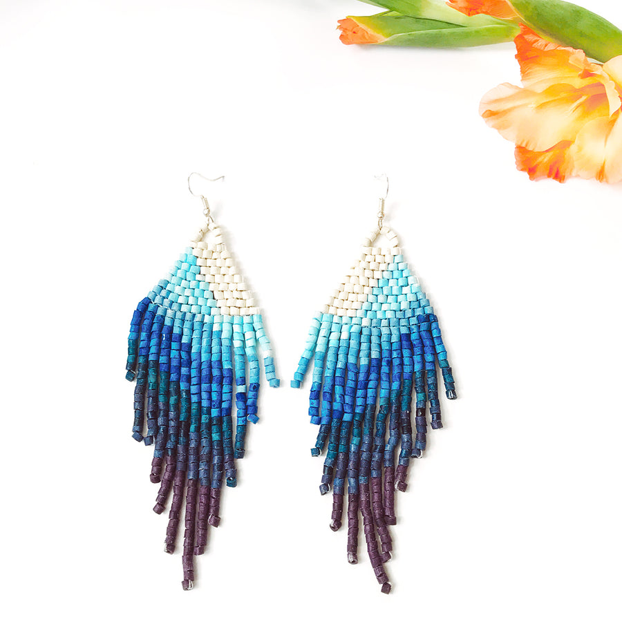 Beaded Earrings ~ Ocean Ombre
