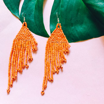 Beaded Earrings ~ Tangerine
